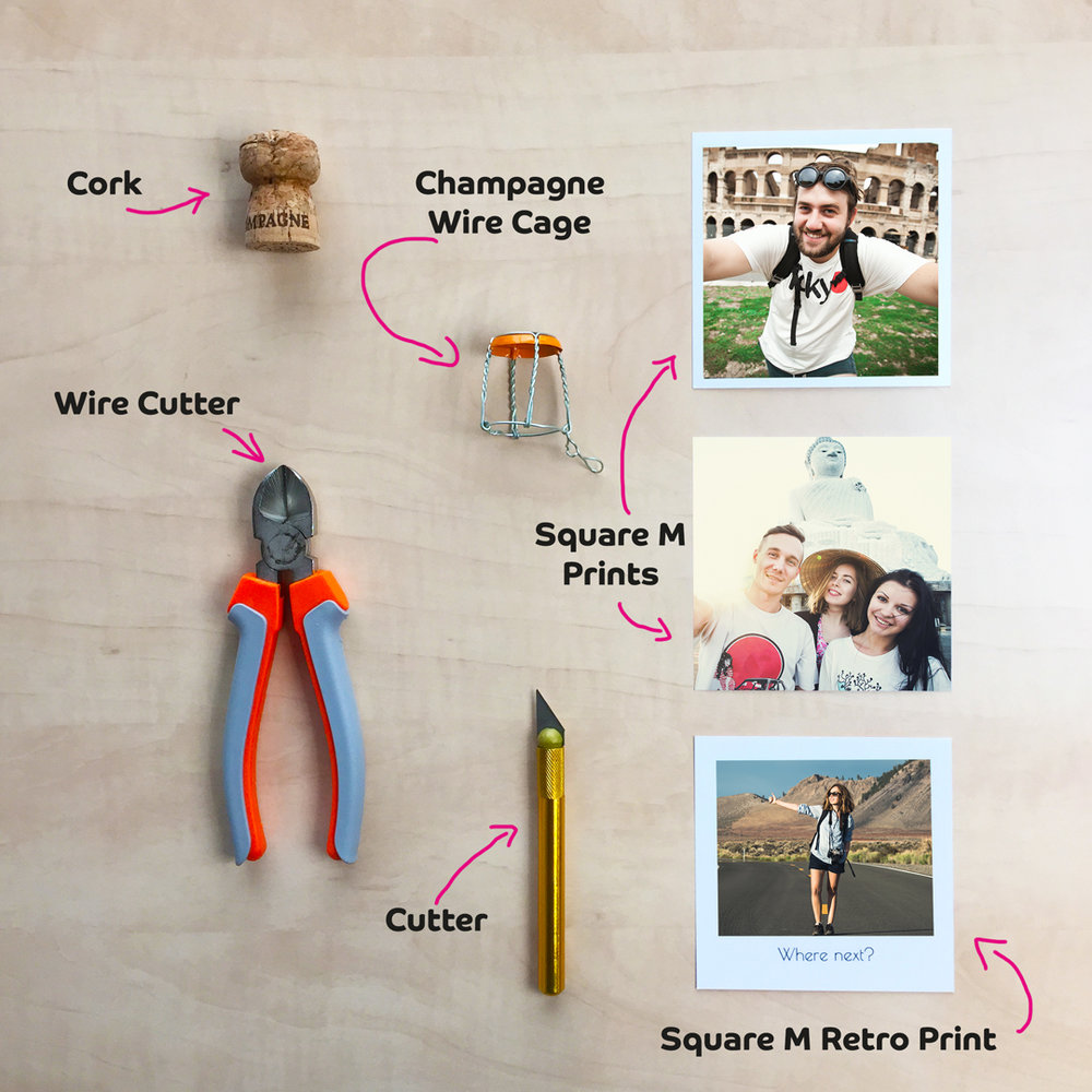 Materials needed to create a DIY Cork Photo Stand