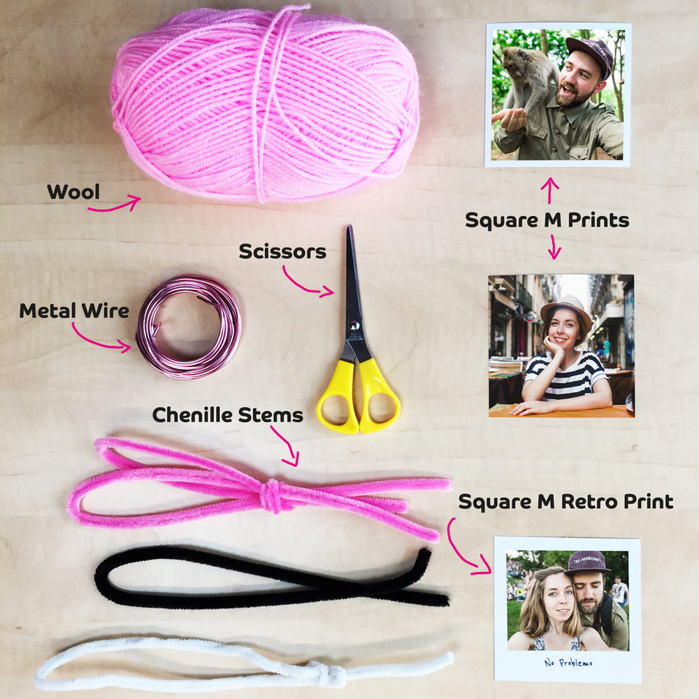 Materials needed to create a DIY Flamingo Photo Stand
