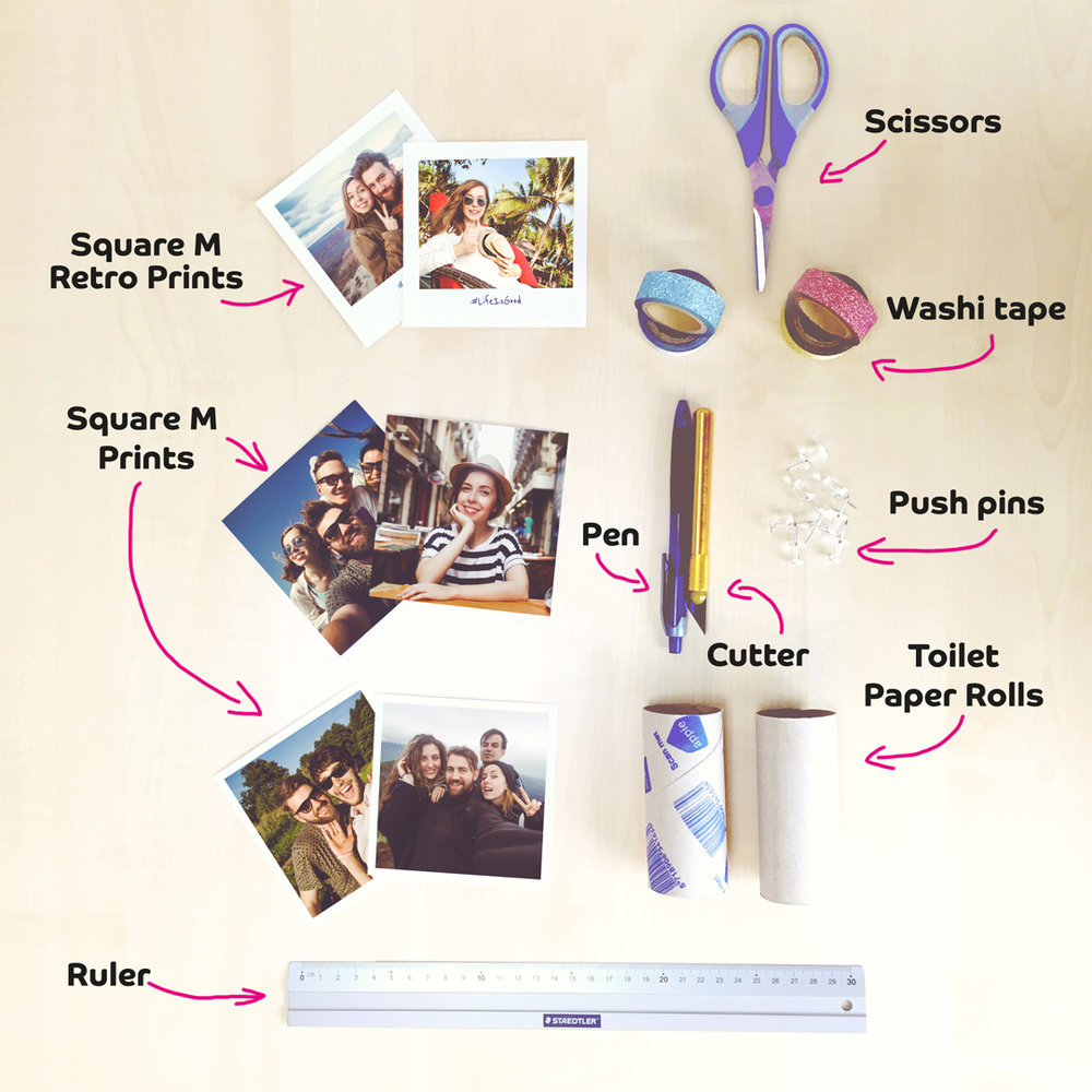 Materials needed to create a DIY Photo Stand using Toilet Paper Roll and Washi Tape