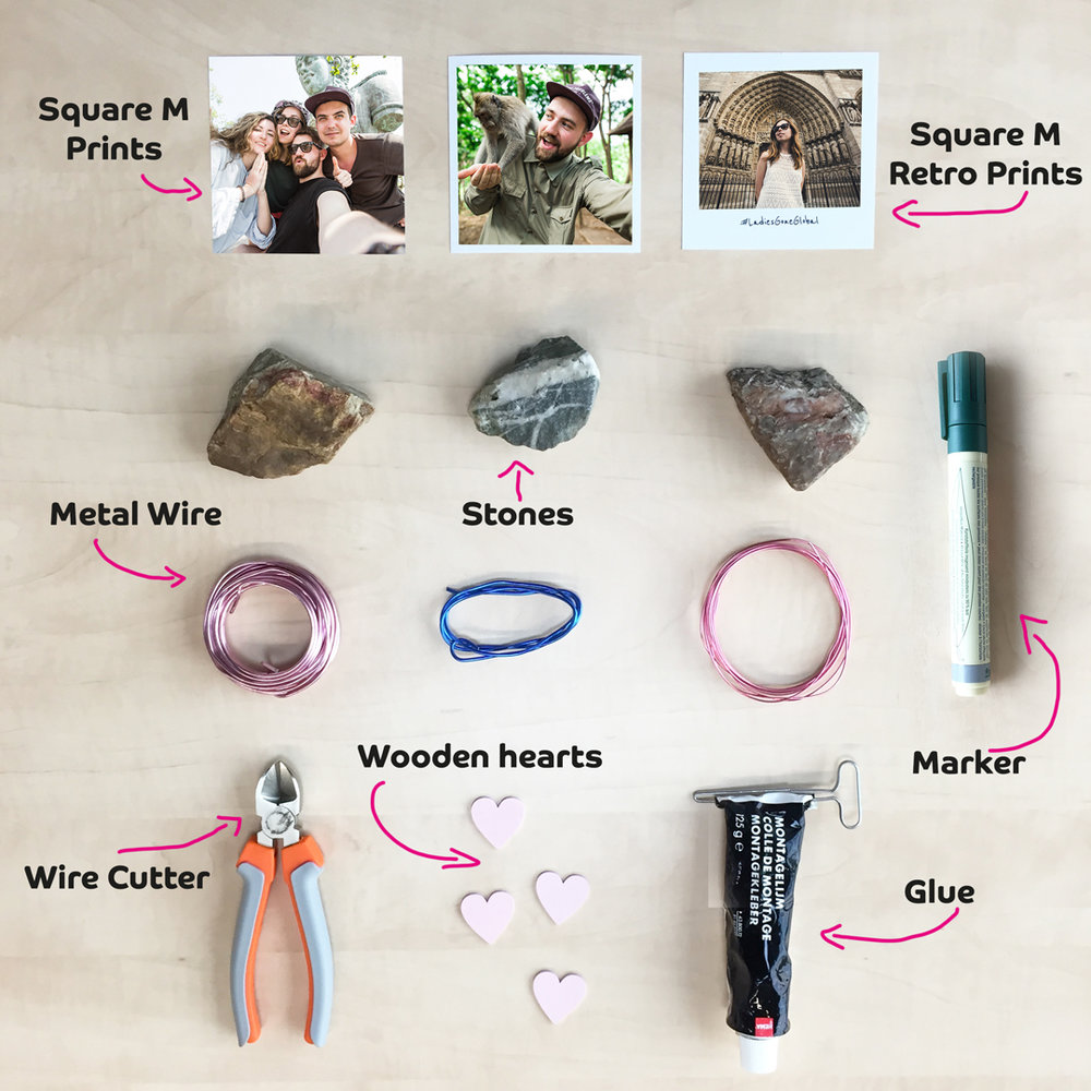 Materials needed to create a DIY Stone Photo Stand