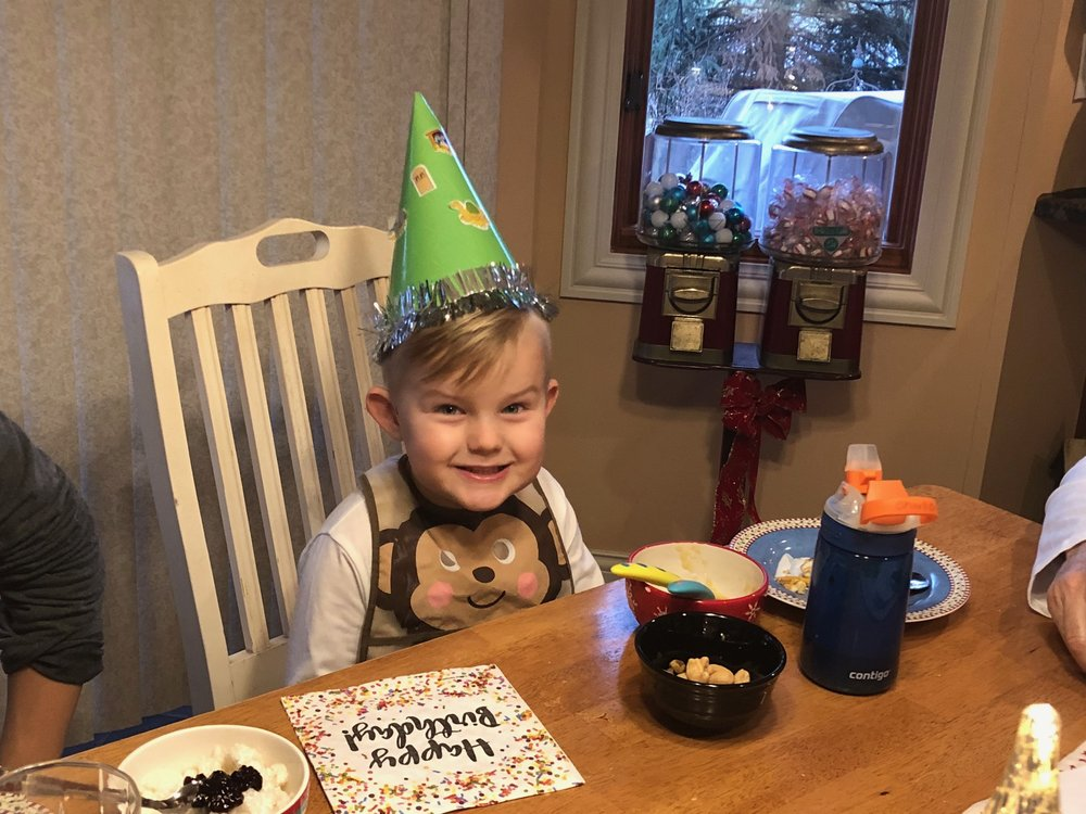 Charlie, 4, celebrating Jesus birthday.