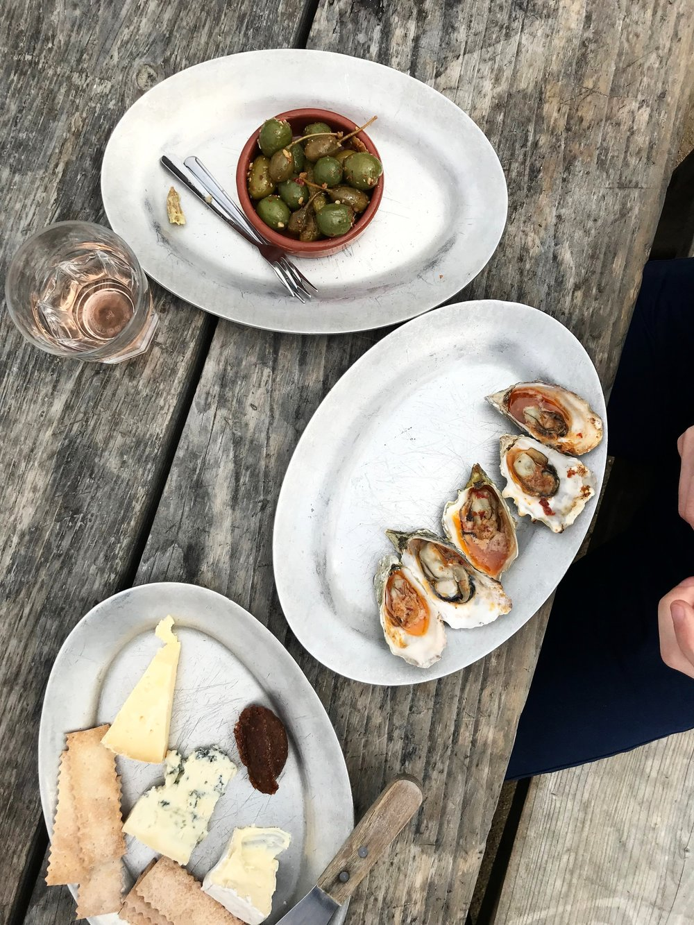 Olives, Cheese plate & baked oysters