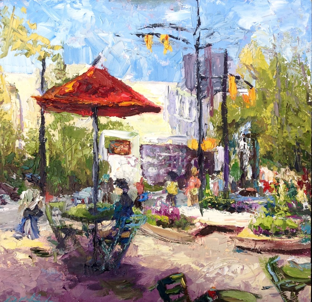 Early Lunch Break 12 x 12 oil on panel - plein air