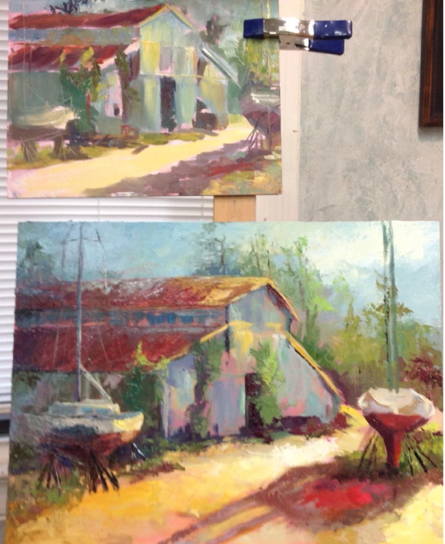 This is the plein air study above and the early beginning of the finished painting
