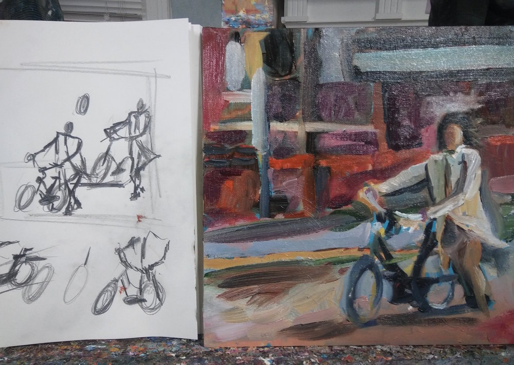 "So happy to get back to my bicycle paintings. Arriving in Style 12"" x 12 oil on canvas"
