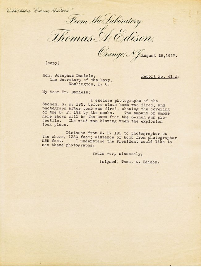 "Photo ""Letter from Thomas Alva Edison to Josephus Daniels, August 29th, 1917,"" Edison Papers Digital Edition, http://edison.rutgers.edu/digital/document/X128C41C."