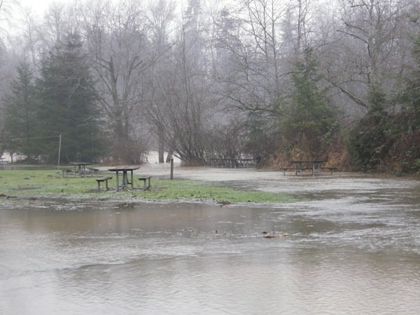 Flooded Picnic Area at Flaming Geyser