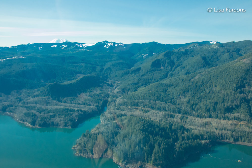 Howard Hanson reservoir looking towards Mt. Rainier
