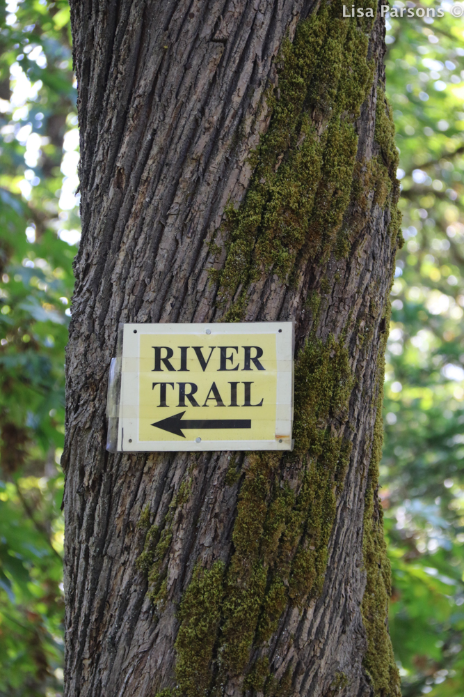 Sign for River Trail on North Side