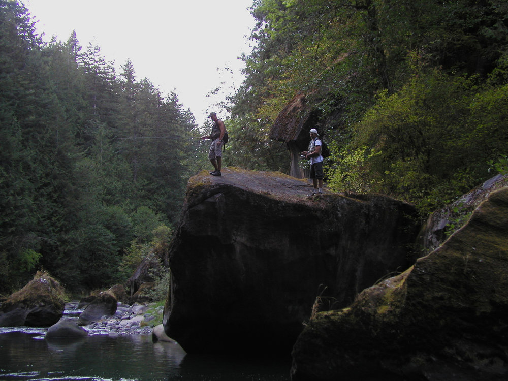 Older photo of fishermen during my first hiking expedition down the Green River Gorge in the summer of 2001