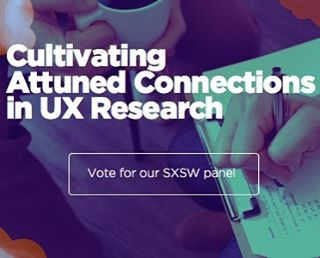 "Voting is still open, and we're still hoping for your vote! Check out our SXSW panel ""Cultivating Attuned Connections in UX Research"" with Flint Sparks, Nic Askew, Jon-Eric Steinbomer and Jessica Steinbomer.  We do UX research differently. UX research is the foundation of empathic design. We teach UX researchers to lean in and attune to people with a curious, compassionate presence. Emphasizing mindfulness and attunement by the researcher, we invite research participants to reveal the ways in which they organize experience, especially around their vulnerability and unexpressed longings. As we gently discover the ways people organize their private experience, we are better able to go below surface level of everyday expression and touch deeper truths. We then communicate these essential themes and more delicate insights to design teams and product owners via specific video technique, bringing the empathic connection full circle.  Our panel will answer the following questions:  How can researchers use their personal presence to expand and deepen the field of inquiry rather than detract from it? How can researchers convey the user's experience in a way that elicits empathy in design teams and executive decision makers? What do researchers need to be in a state of empathic attunement? Vote for us! Community voting for SXSW is now open. Help us spread mindful compassion in UX!  How to Vote 1. Check out our panel idea at http://panelpicker.sxsw.com/vote/63467 2. Click the thumbs up if you like what you see! 3. You will be prompted to create a sign-in. 4. Create your sign-in. 5. Complete your vote!  We appreciate your support. We also welcome your feedback. Email us at: business@experienceprogress.com  Thank you!  #UX #sxsw #sxswinteractive #vote #userresearch #userexperience #uxdesign #mindfulness #connection"