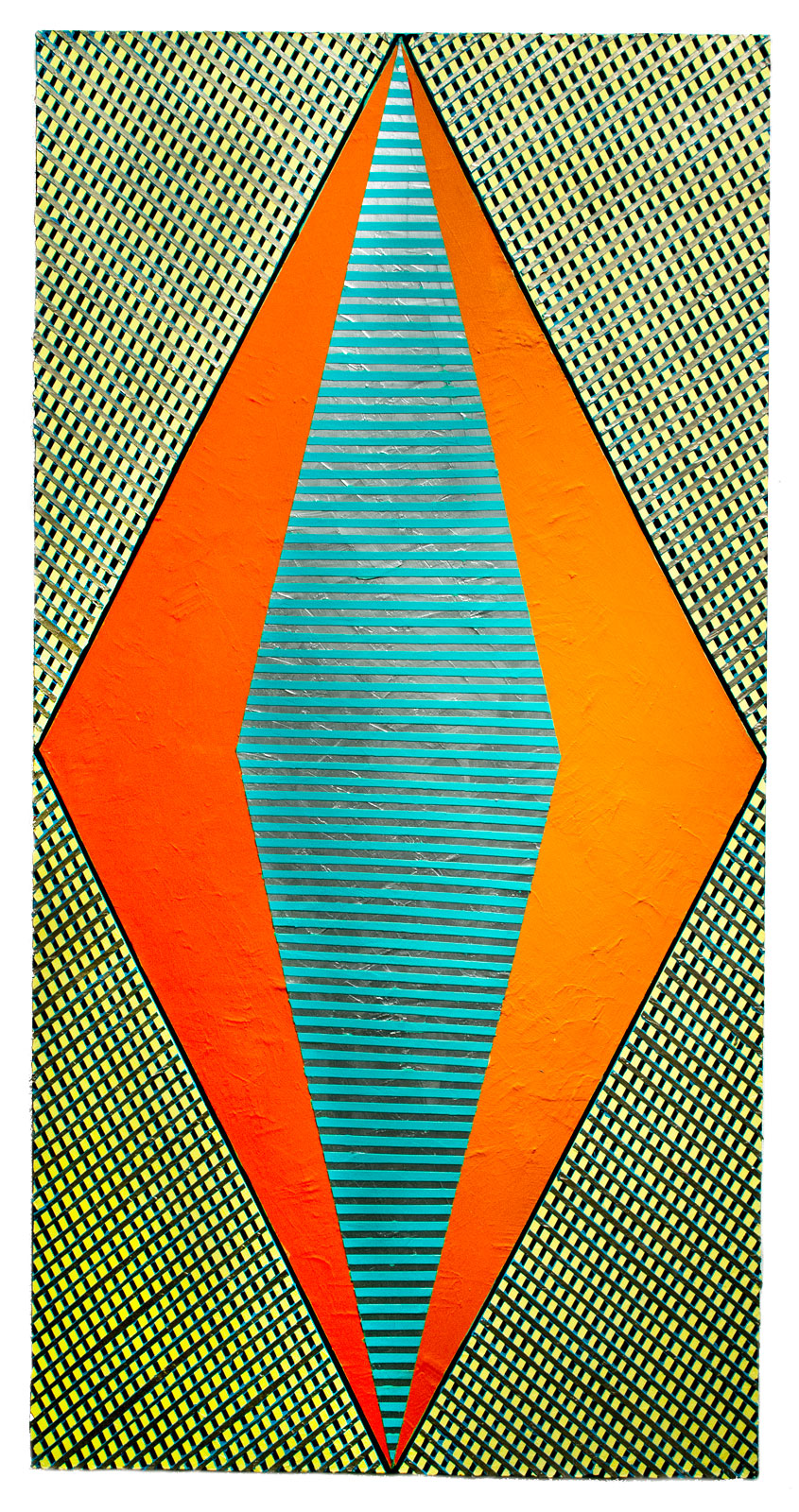 "2018   ""Diamond w. Orange""  Acrylic on Canvas   72H x 36W"