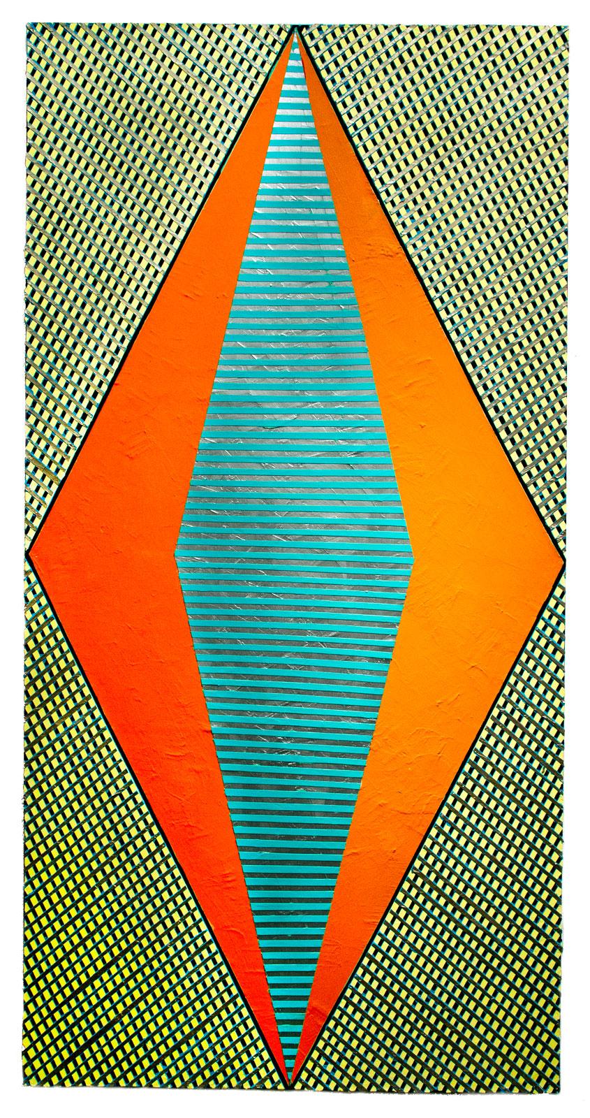 "2018 ""Large Diamond w. Orange""  Acrylic on Canvas 72H x 36W"