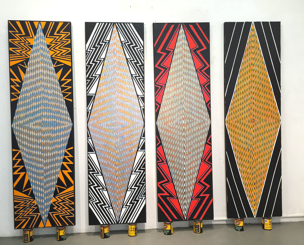 "2015-16  ""Tall Diamonds""   (New York/ London/Brussels/Paris)  Acrylic on Canvas   Each 84H x 24W"