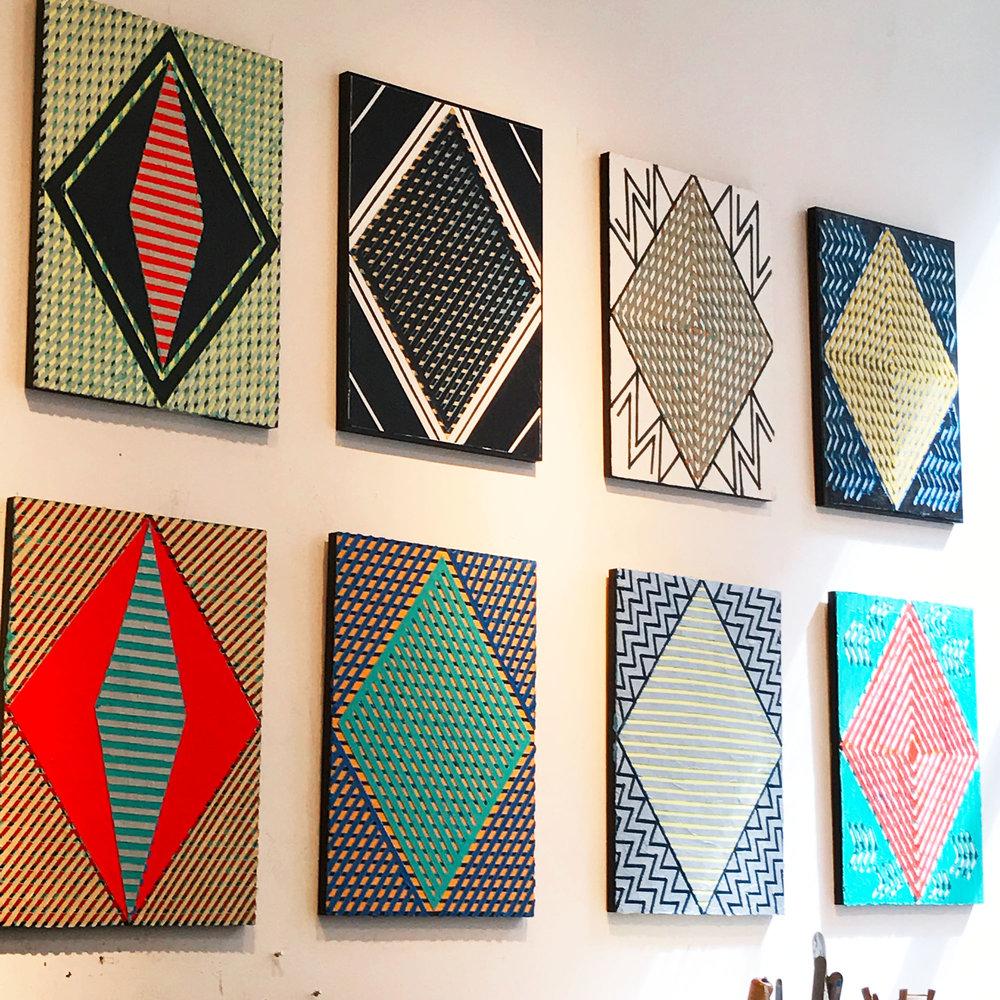 "2017 ""Eight Diamonds""   Acrylic on Masonite Each 24H x 18W"