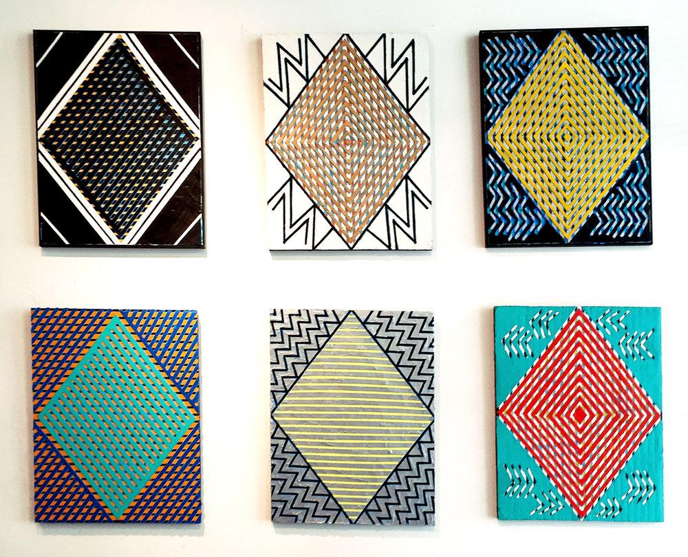 "2015 - 2017 ""Six Diamonds""   Acrylic on Masonite Each 24H x 18W"