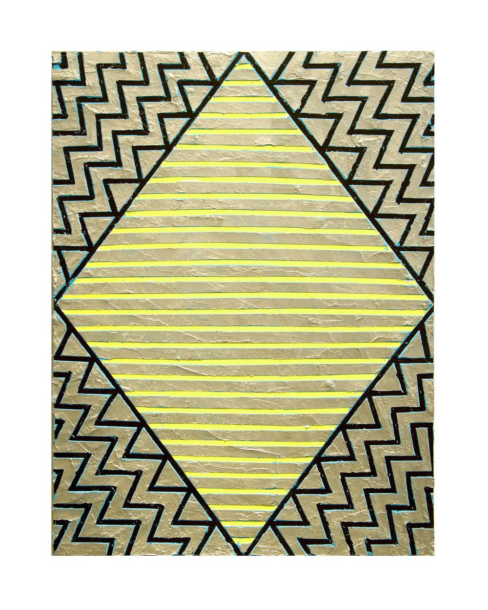 "2017 ""Diamond w. Silver and Yellow""  Acrylic on Masonite 24H x 18W"