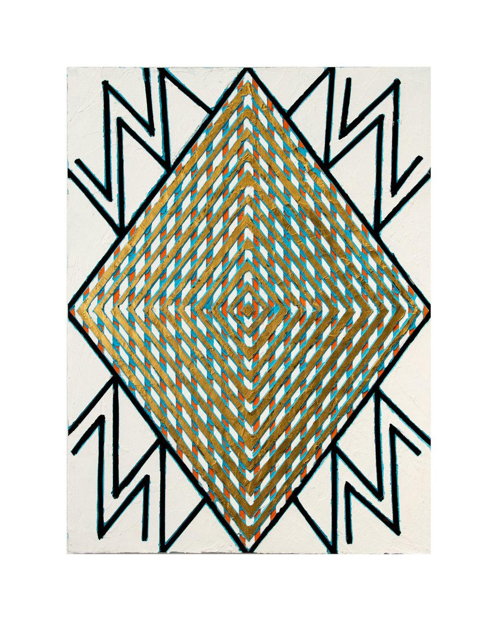 """2014  """"Signal""""  Acrylic on Masonite 24H x 18W"""