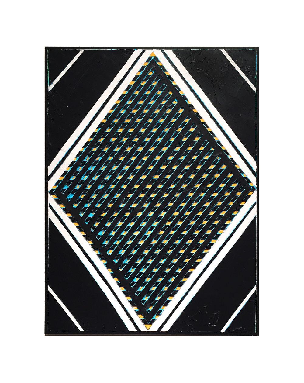 "2016 ""Diamond w. Black Grid""  Acrylic on Masonite 24H x 18W"