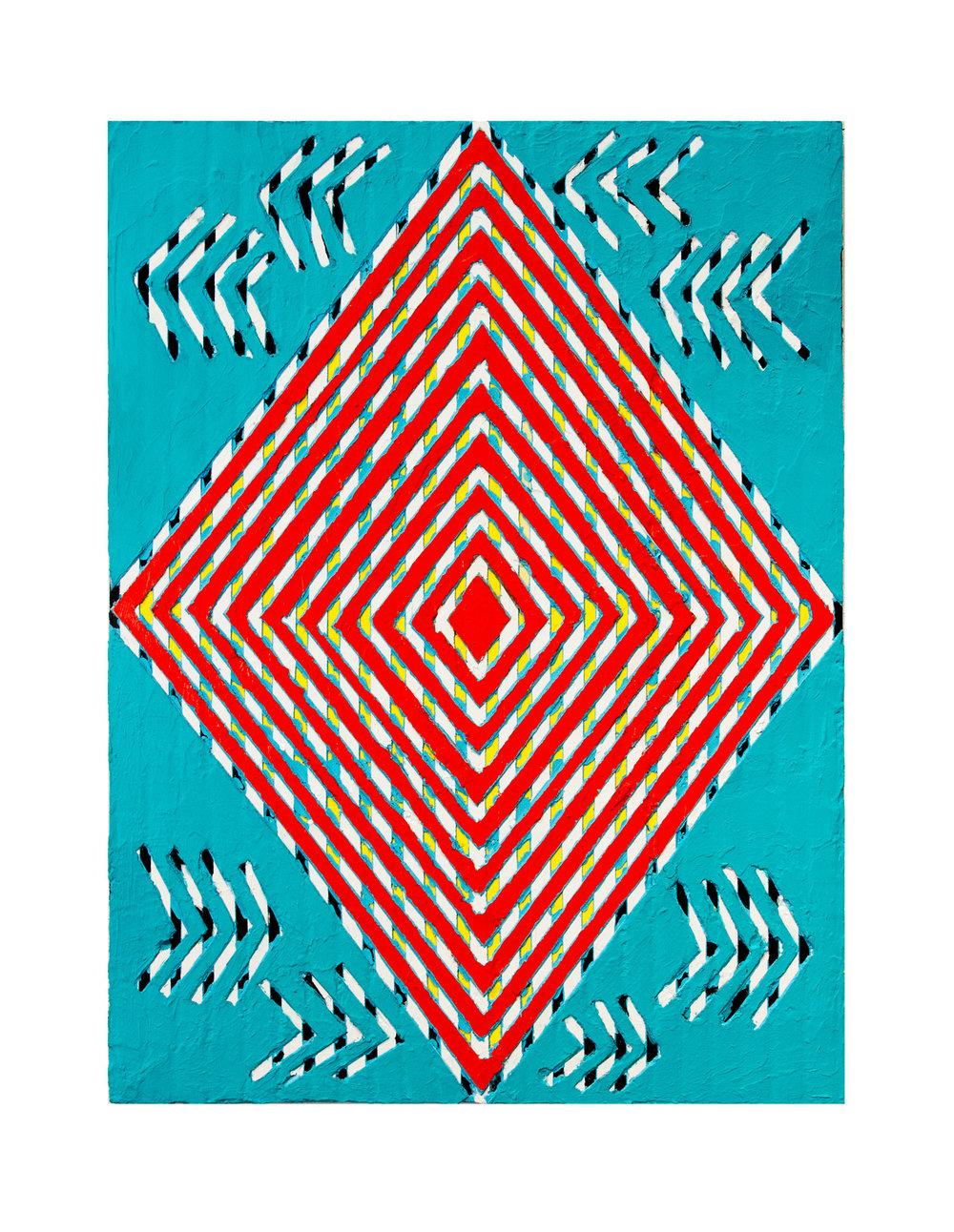 "2014 ""Static""  Acrylic on Masonite 24H x 18W"