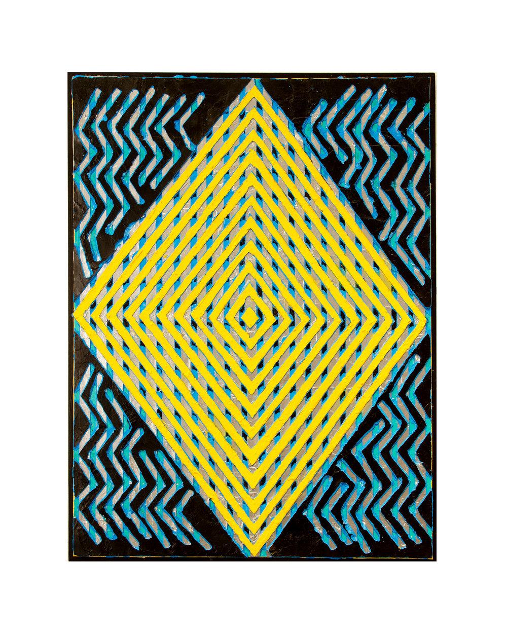 """2014 """"Interference""""  Acrylic on Masonite 24H x 18W"""