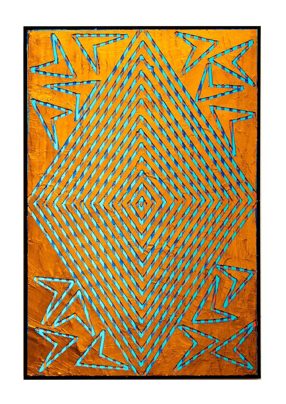 "2014 ""Diamond w. Deep Gold""  Acrylic on Masonite 36H x 24W"