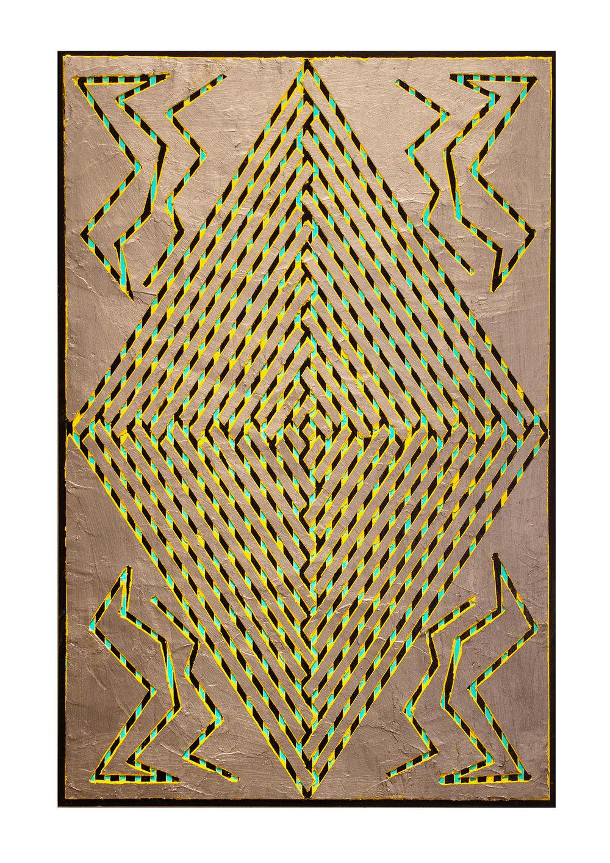 "2014 ""Diamond w. Silver""  Acrylic on Masonite 36H x 24W"
