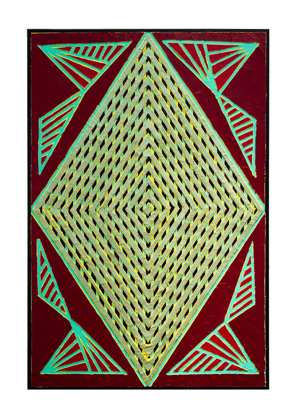 "2014 ""Oasis""  Acrylic on Masonite 36H x 24W"