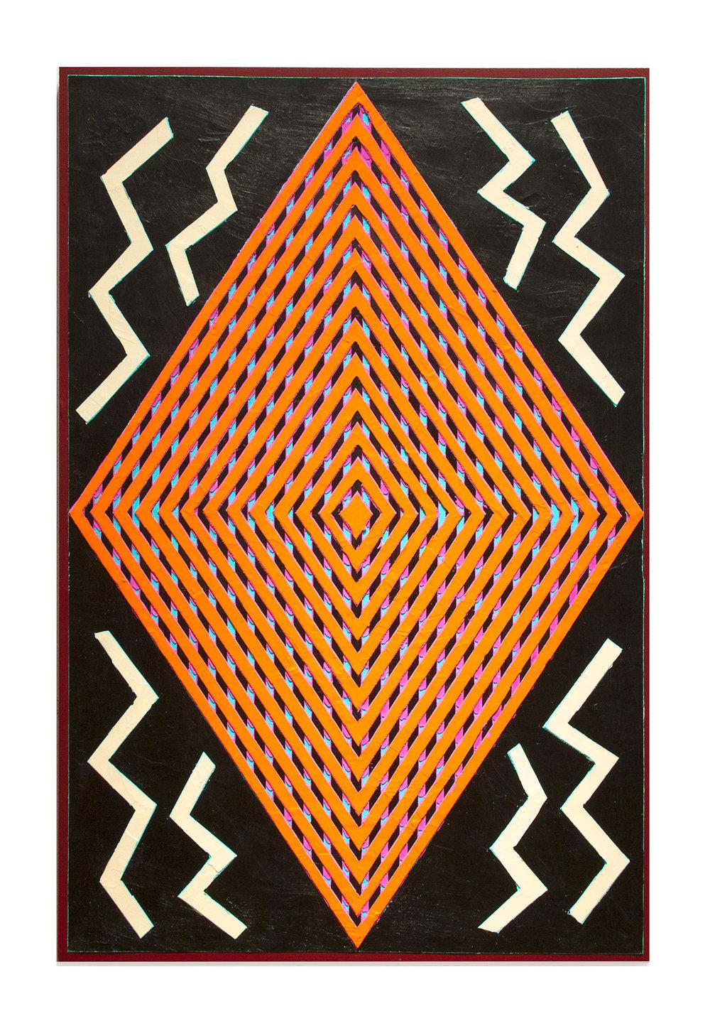 "2013 ""Echoes""   Acrylic on Masonite 36H x 24W"