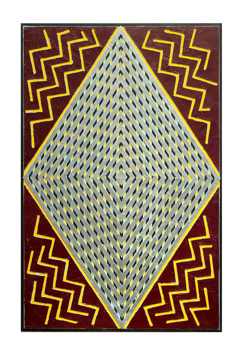 "2013 ""Reverberation""  Acrylic on Masonite 36H x 24W"