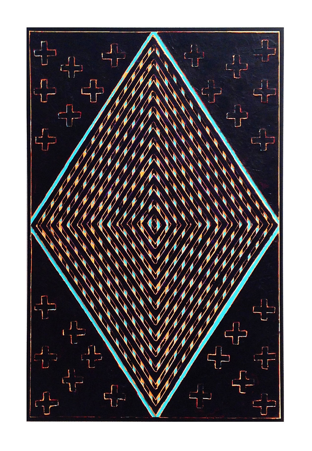 "2013 ""Intrusion""  Acrylic on Masonite 36H x 24W"