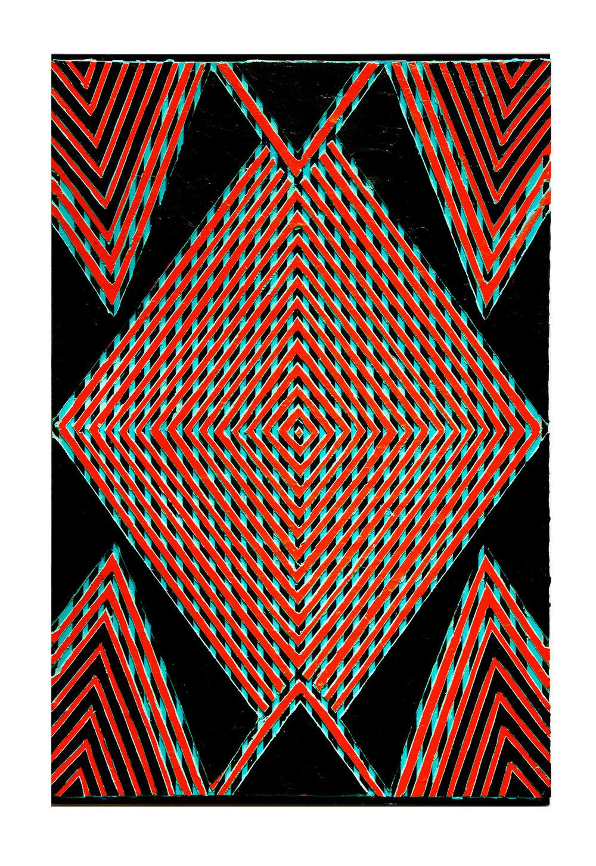 "2013 ""Moving In""  Acrylic on Masonite 36H x 24W"