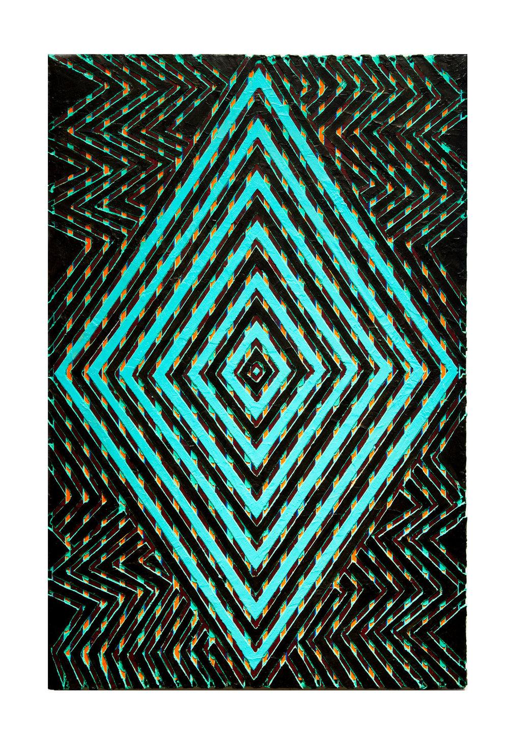 """2013 """"Shake It""""  Acrylic on Masonite 36H x 24W"""