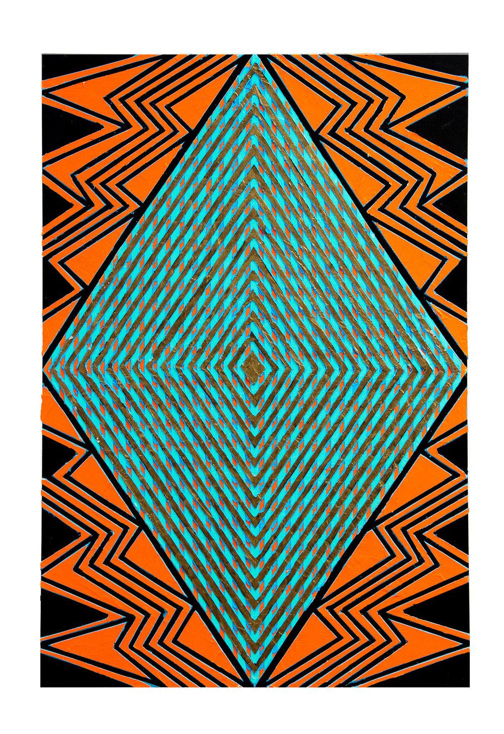 "2015 ""Wi-Fi""  Acrylic on Masonite 36H x 24W"