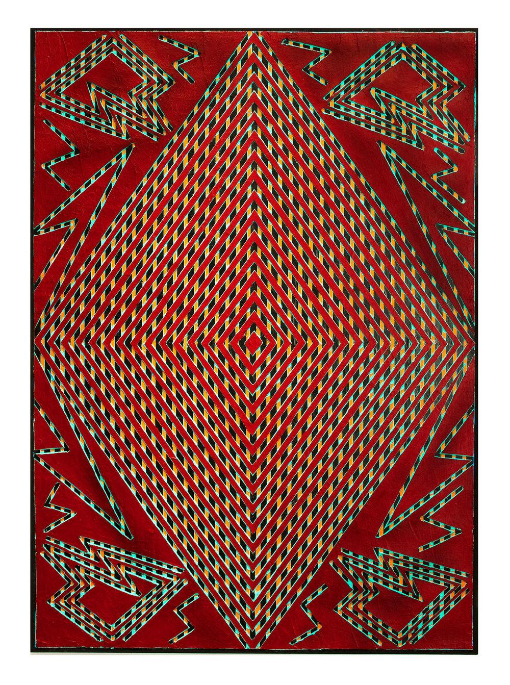"2014 ""Diamond w. Red Bordeaux""  Acrylic on Masonite 40H x 34W"
