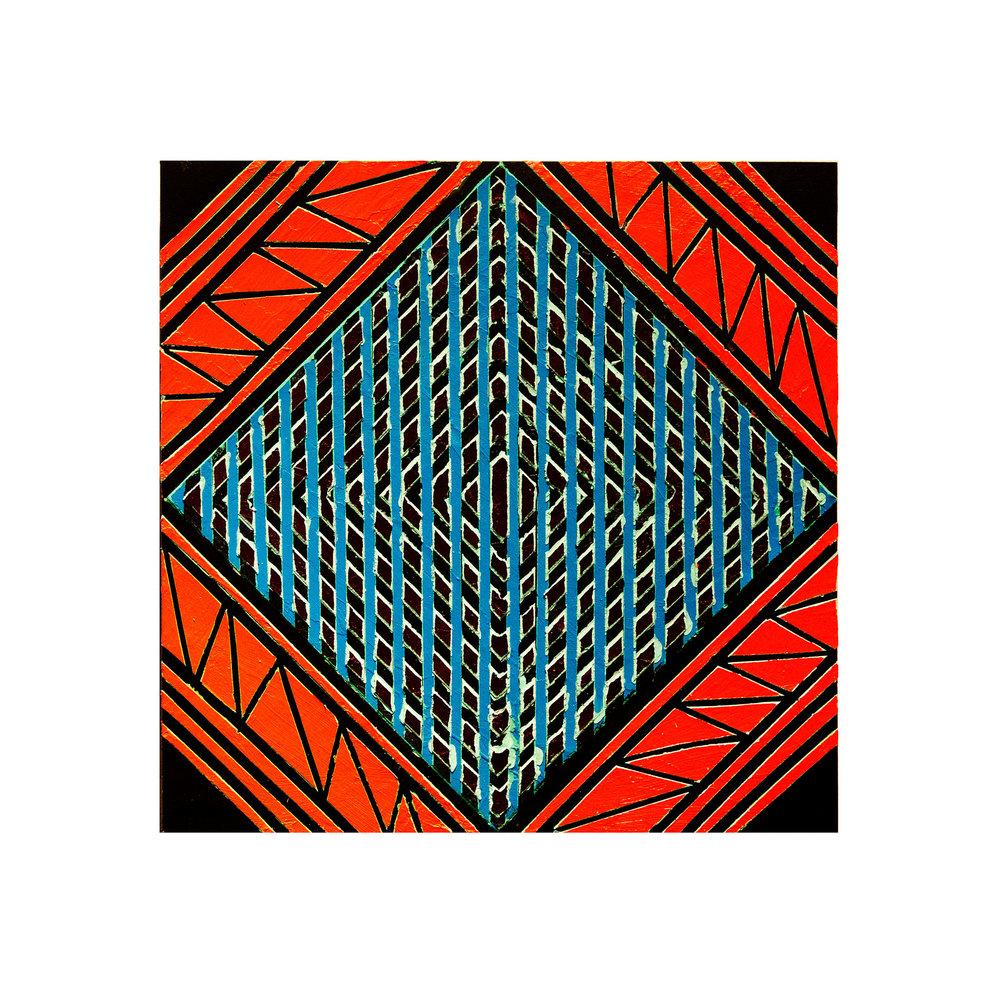 "2016  ""Primaries - Blue""   Acrylic on Masonite  16H x 16W"