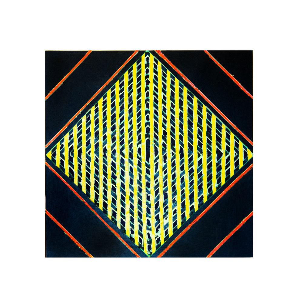 "2016 ""Primaries - Yellow""   Acrylic on Masonite 16H x 16W"
