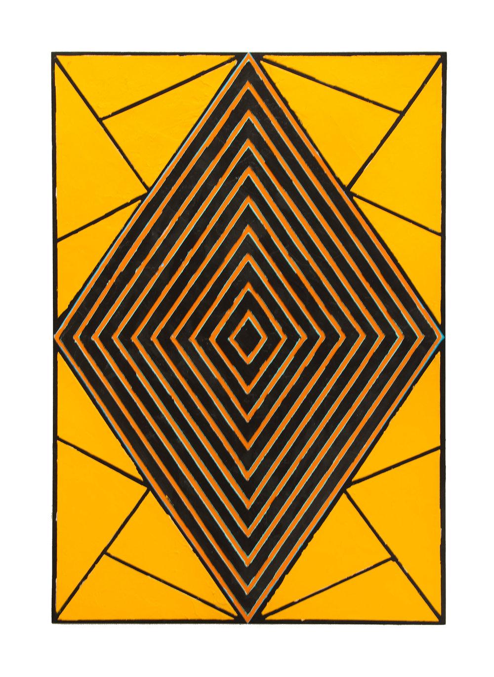 "2009 ""Raised Diamond 5""  Acrylic on Masonite 36H x 24W"