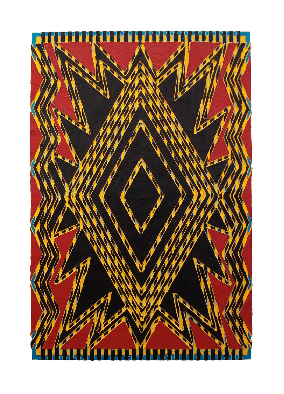 "2006 ""On Fire""  Acrylic on Masonite 36H x 24W"