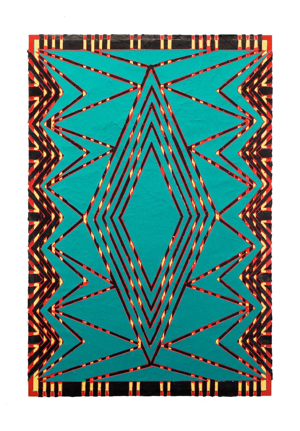 "2006 ""Dressed in Green""  Acrylic on Masonite 36H x 24W"