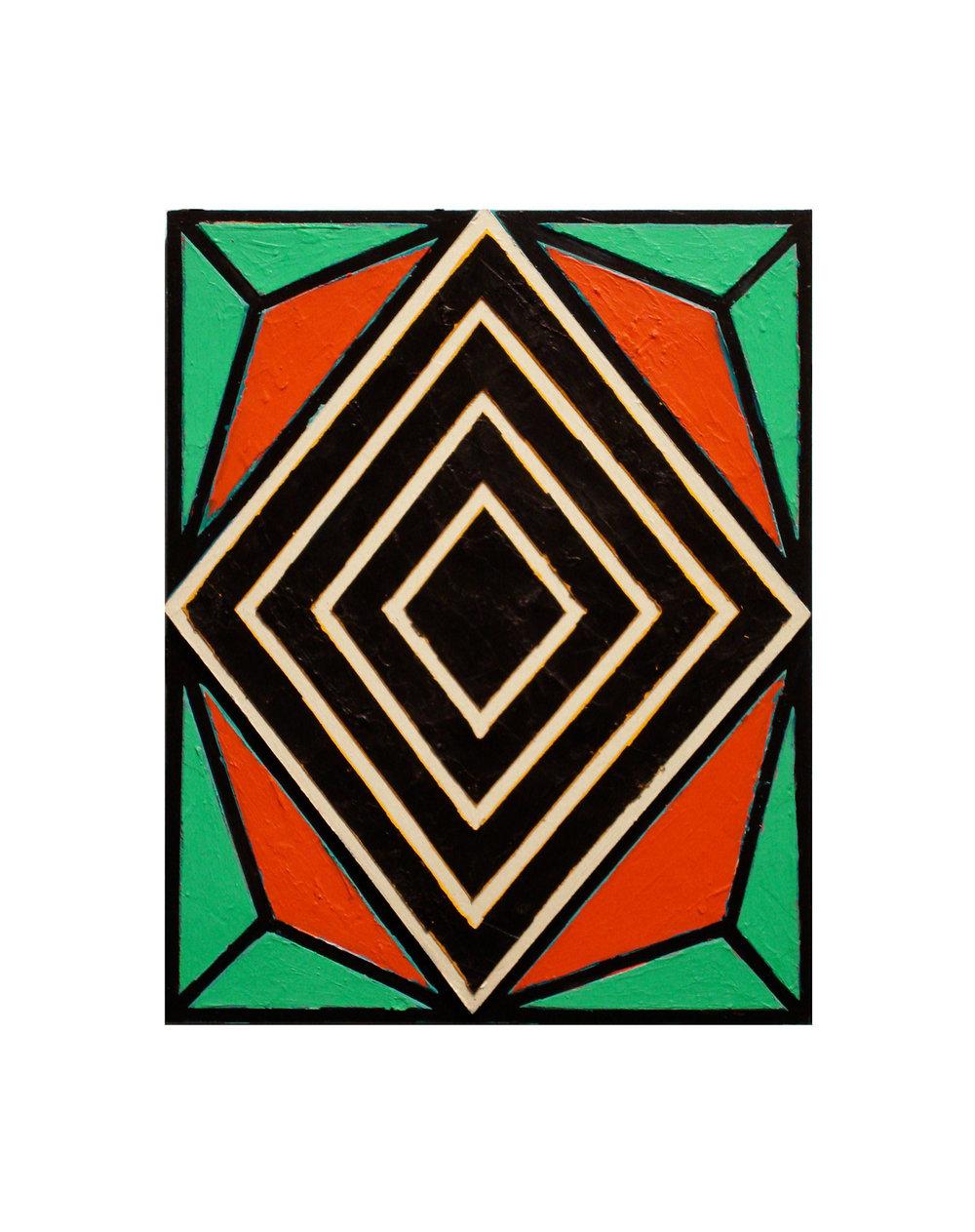 "2007 ""Small Diamond 4""  Acrylic on Masonite 14H x 11W"