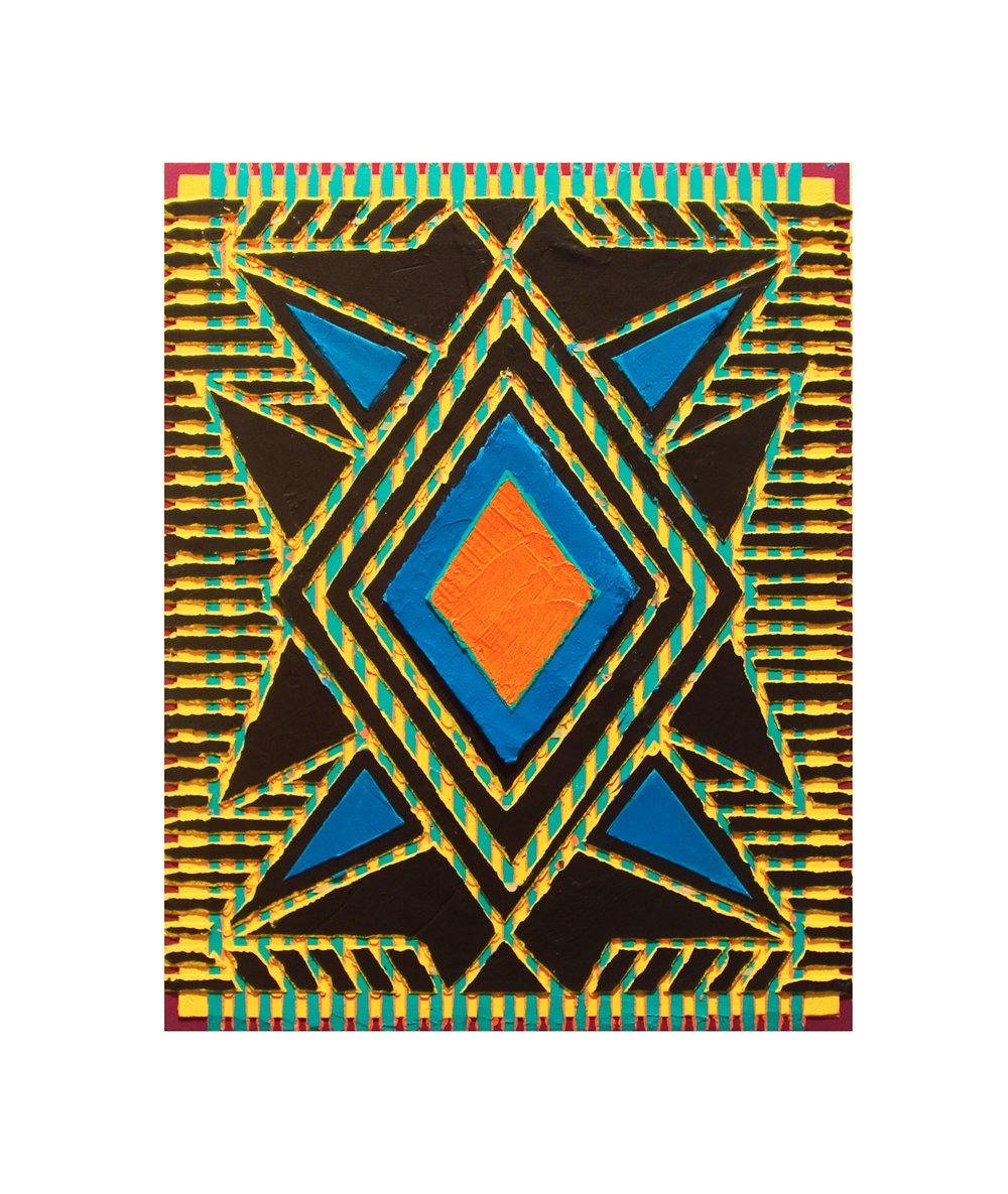 "2004 ""Visitor""  Acrylic on Masonite 14H x 11W"