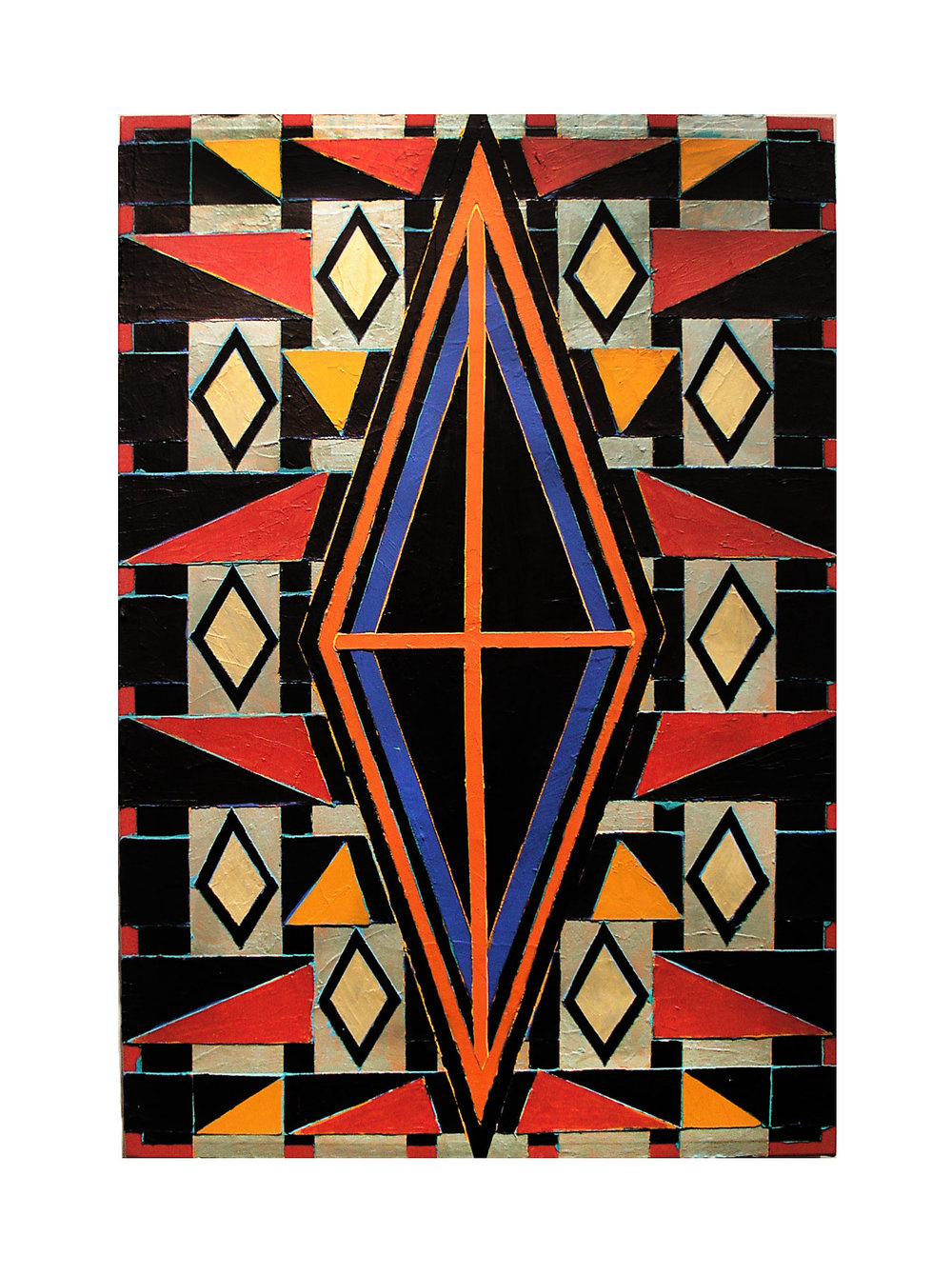 "2004 ""Diamond w. Black Bands & Red Cross""  Acrylic on Canvas 36H x 24W"