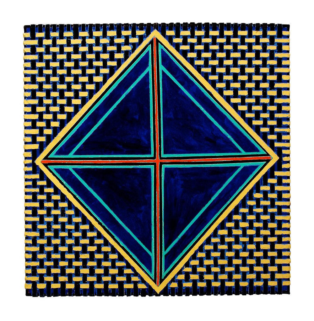 "2004  ""Navy Diamond w. Red Cross""  Acrylic on Canvas 30H x 30W"