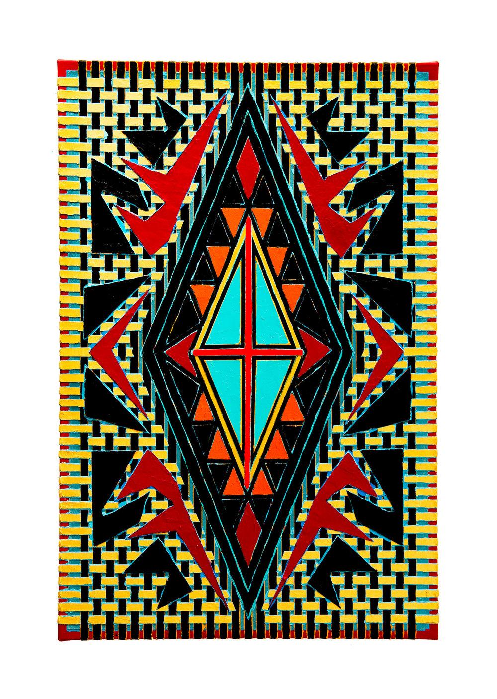 "2004  ""Diamond w. Gold Weave & Red Cross""  Acrylic on Canvas  36H x 24W"