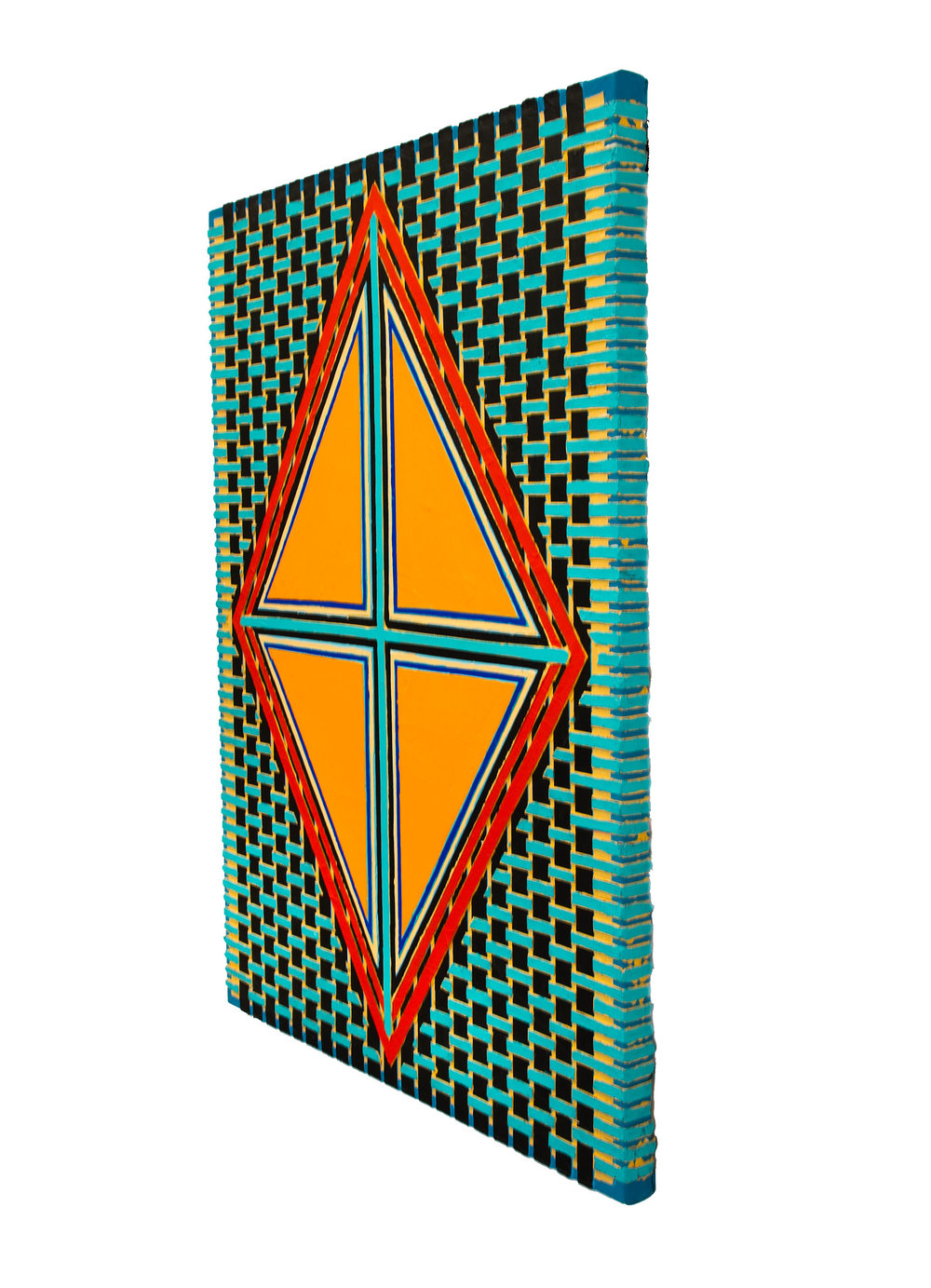 "2004    ""Orange Diamond w. Turquoise Cross""                Side View"