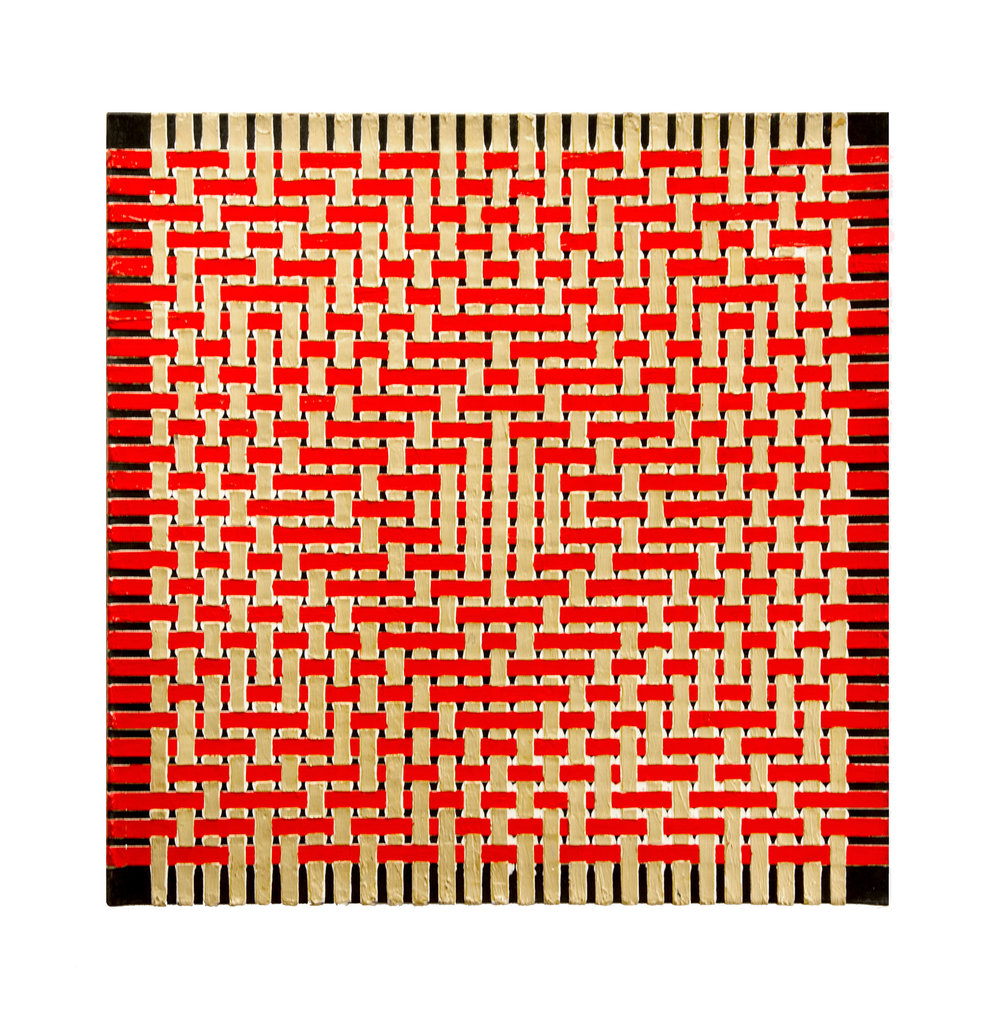 "1978  ""Diamond w. Red & Gold""   Acrylic on Canvas 24H x 24W"