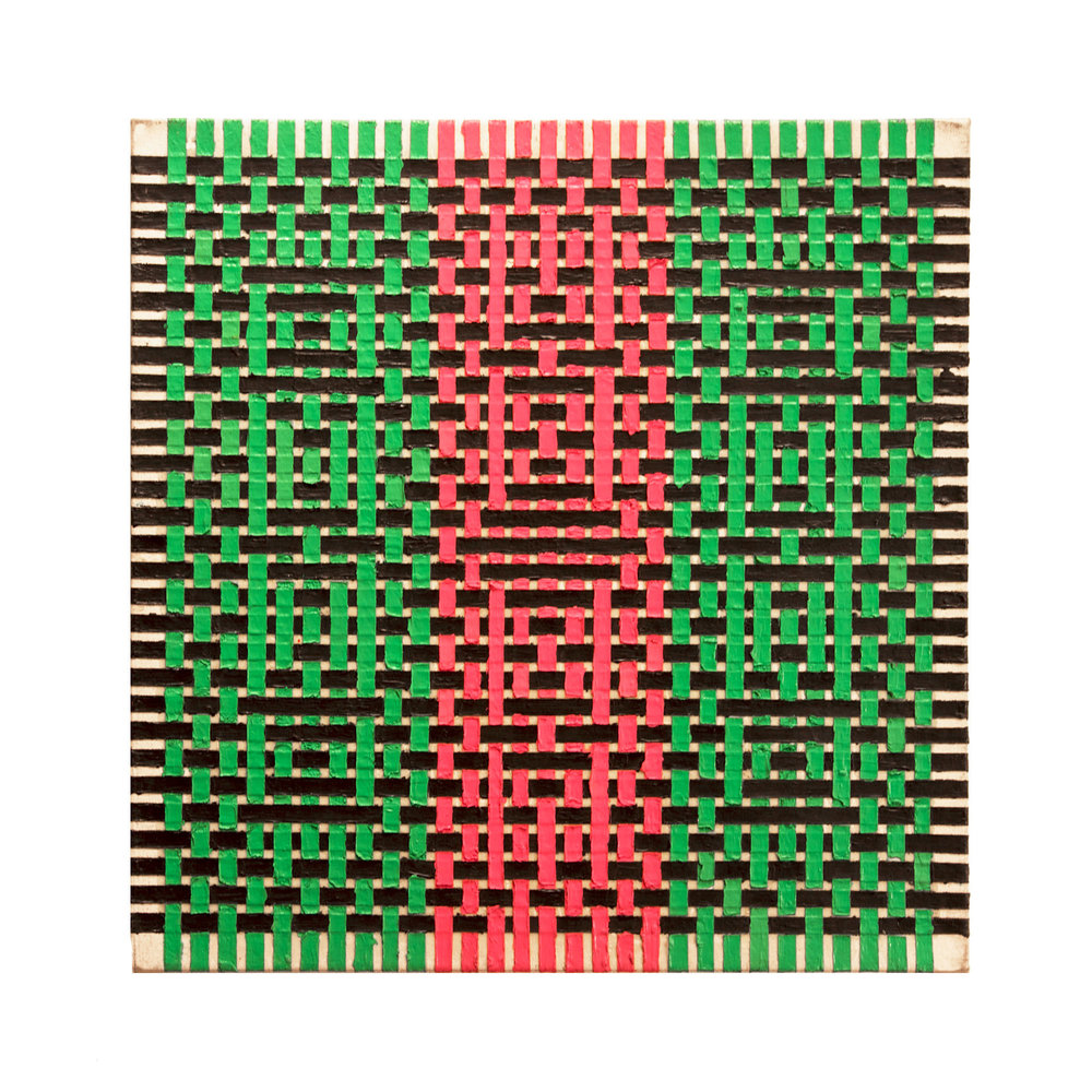 "1977    ""Weaving Ptg w. Lt Pink ad Lt Green""   Acrylic on Canvas    24H x 24W"