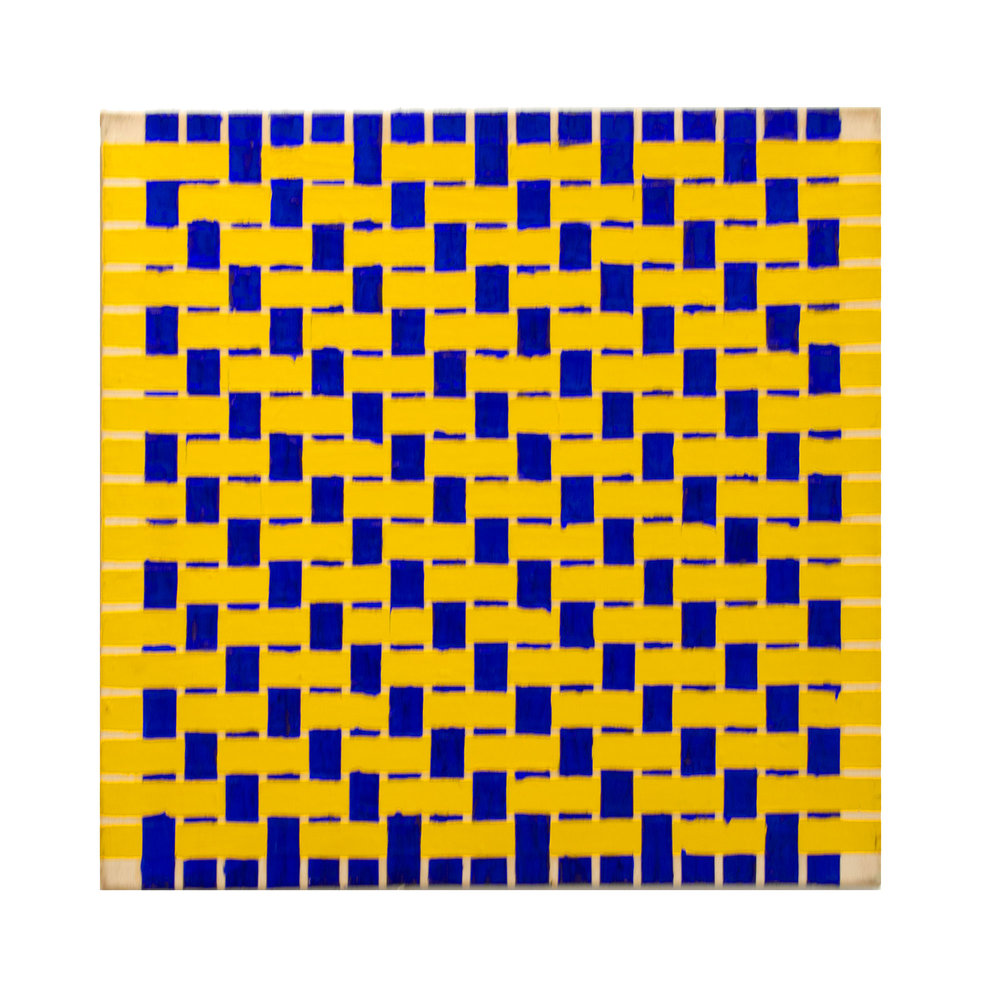 "1977   ""Weaving Ptg. w. Blue & Yellow""   Acrylic on Canvas    24H x 24W"