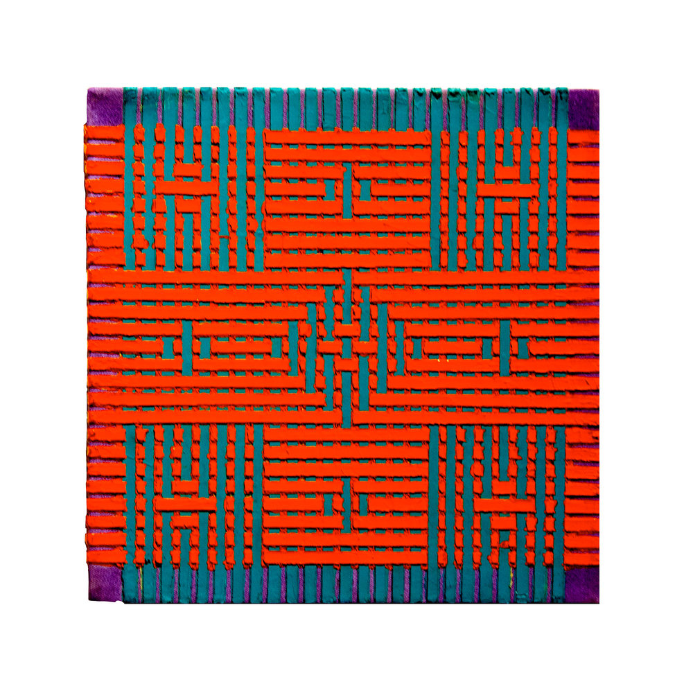 "1979   ""Small Weaving Painting10""  Acrylic on Canvas   12H x 12W"